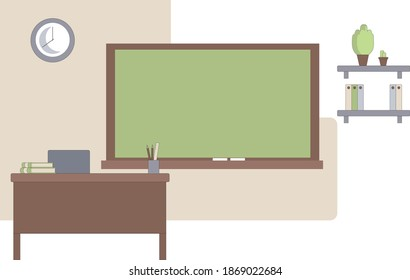 Empty school classroom with green chalkboard, teachers desk, pupils tables and chairs. Flat style vector illustration isolated on white background