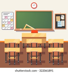 Empty school classroom with green chalkboard, teachers desk, pupils tables and chairs. Flat style vector illustration isolated on white background.