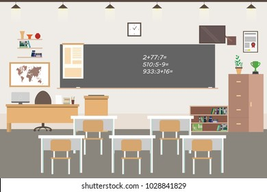 Empty School or college room interior, classroom with furniture, flat vector illustration.