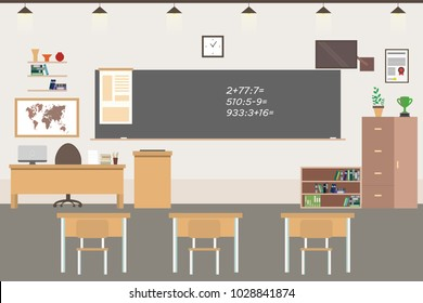 Empty School or college room interior,classroom with furniture,flat vector illustration.