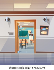 Empty School Corridor With Open Door To Class Room Flat Vector Illustration