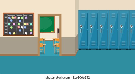 empty school interior,open door in classroom. Vector illustration in flat style