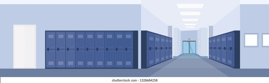 empty school lobby corridor interior with row of blue lockers horizontal banner flat