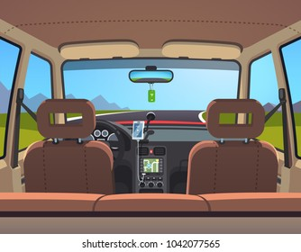 Empty sedan car on a road with navigator and smartphone on holder. Countryside parked automobile. Inside car interior. Flat style isolated vector illustration
