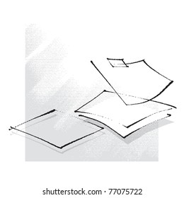 empty sheets of paper, simple stylized line, freehand drawing vector