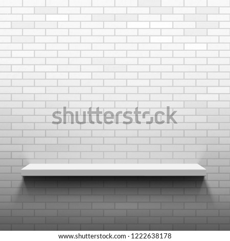 Empty Shelf On Brick Wall Template Stock Vector (Royalty Free ...