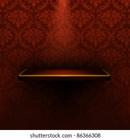 Empty shelf, red luxury