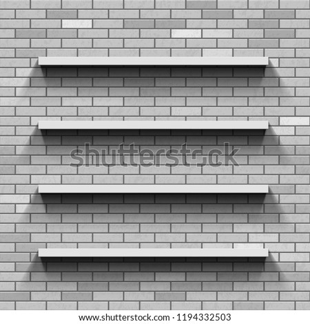 Empty Shelves On Brick Wall Template Stock Vector (Royalty Free ...