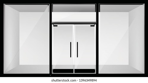 empty shop front store realistic windows, space closed doors template mock up background vector illustration