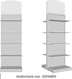 Empty shop shelves, store vector illustration
