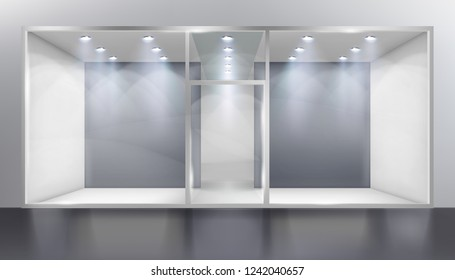 Empty shop window. Place for the exhibition. Vector illustration.