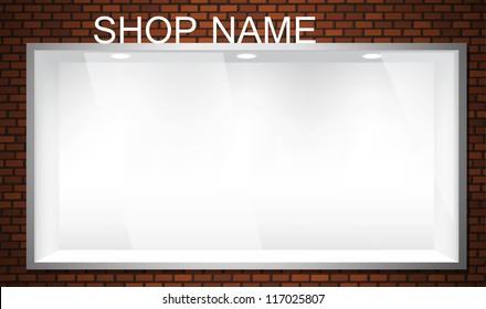 Empty shop window showcase. EPS10 vector storefront.
