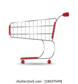 Empty Shopping cart trolley. Vector pushcart icon.