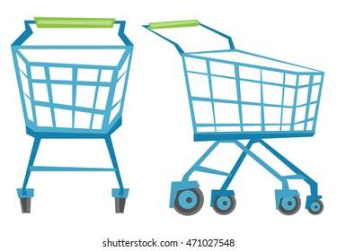 Empty shopping carts vector flat design illustration isolated on white background.