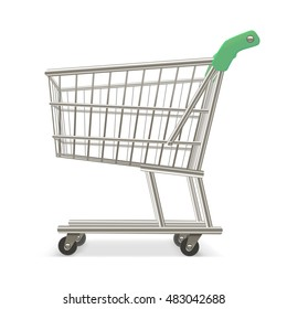 Empty Shopping Supermarket Trolley Cart side view. Business Retail Equipment. Vector illustration. Shop cart. Market concept.