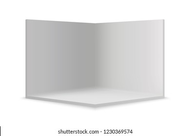 Empty show room with square corner. 3d vector illustration