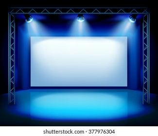 Empty show stage. Vector illustration.