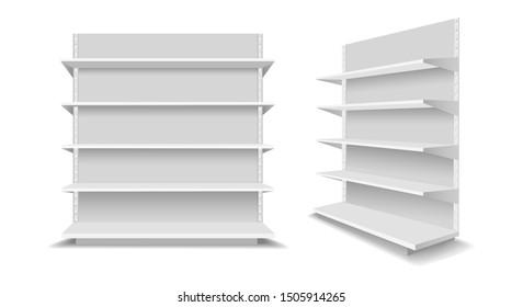 Leere Schaufensterregale. Werbung für leere Supermarktregale, Einkaufszentren für leere Einzelhandelsprodukte, Schaufenster für weiße Schaufensterregale, Vektorgrafik
