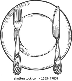 Empty simple plate with fork and knife. Tableware restaurant dinner etiquette setting illustration. Hand drawn vintage style.