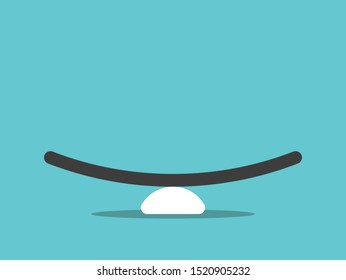 Empty simple seesaw weight scale on turquoise blue background. Balance, comparison, equilibrium and harmony concept. Flat design. Vector illustration, no transparency, no gradients