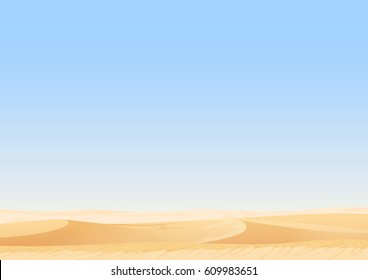 Empty sky desert dunes vector egyptian landscape background. Sand in nature illustration.
