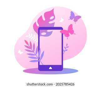 Empty smart phone screen frame with femenine tropical plant leaf and butterfly. Modern technology product presentation template or woman communication concept design on isolated background.