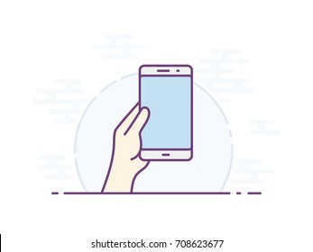 Empty smartphone screen for your icon. Vector icon for a mobile app user interface or manual. Hand holding smartphone. Vector illustration.
