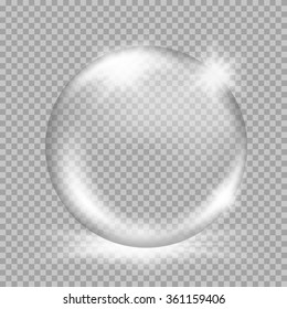 Empty snow globe. Big white transparent glass sphere with glares and, bursts, highlights. Vector illustration with gradients and effects. Winter background for your design and business