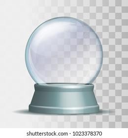 Empty snow globe. Magic glass sphere on light grey pedestal on transparent background. Vector illustration EPS 10