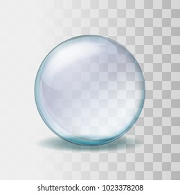 Empty snow globe. Realistic transparent glass sphere vector illustration