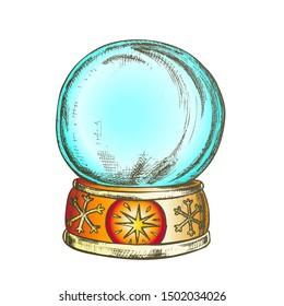 Empty Snowglobe Christmas Souvenir Vintage Vector. Glass Ball Snowglobe On Decorated Snowflake Pedestal. Celebratory Present Sphere Template Hand Drawn In Retro Style Color Illustration