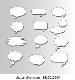 Empty Speech bubble with shadow. For text communication. Vector.