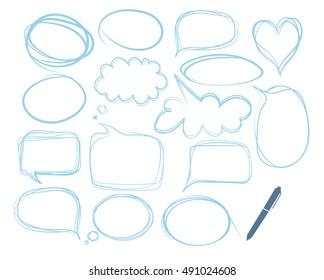 empty speech bubbles. sketch hand drawn bubble speech. set of text balloons. hand drawn highlight bubbles and pen