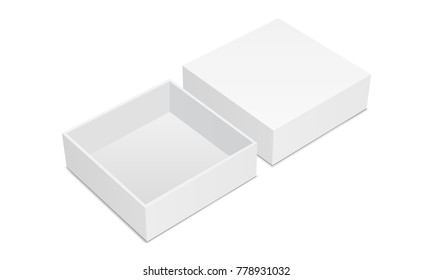 Empty square box mockup with lid isolated on white background. Vector illustration