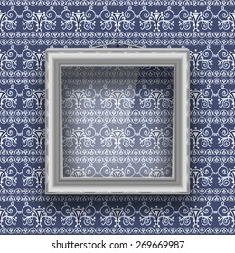 Empty square frame with glass on the wall with patterned wallpaper. Vector illustration.