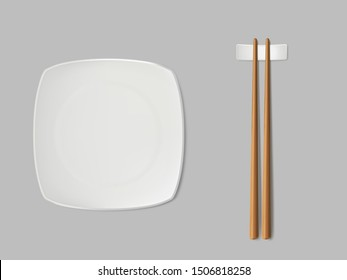 Empty, square sushi plate, chopsticks on white ceramic stand. Sushi porcelain dishware, traditional wooden sticks for asian food, japanese dishes restaurant isolated, 3d realistic vector illustration
