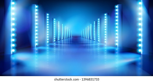 Empty stage before the show. Fashion runway. Blue background. Vector illustration.