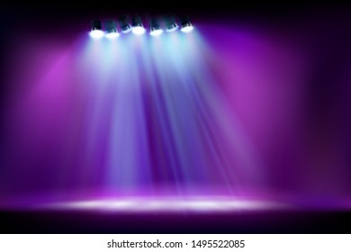 Empty stage before the show. Spotlights on purple background. Vector illustration.