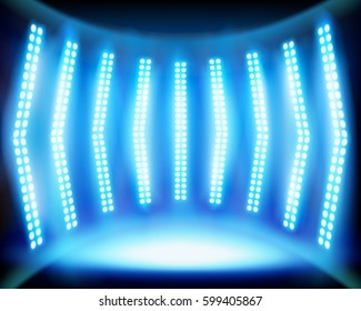 Empty stage with lighting. Vector illustration.