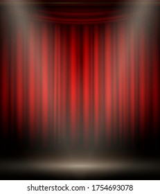 Empty stage on red black background, show decoration. Event presentation, theatrical red curtain design. Vector realistic style illustration