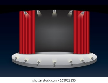 Empty stage with red curtain illustration