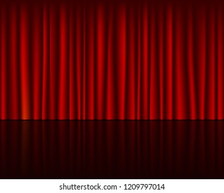 Empty stage with red curtain seamless template. Vector background.