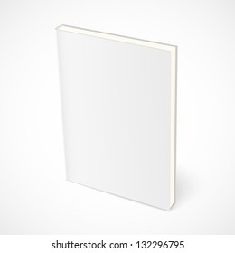 Empty standing book with white cover. Vector illustration