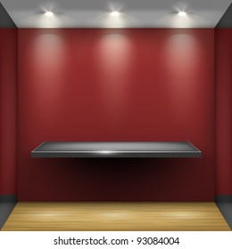 Empty steel shelf in red room, illuminated by searchlights. Part of set. Vector interior.