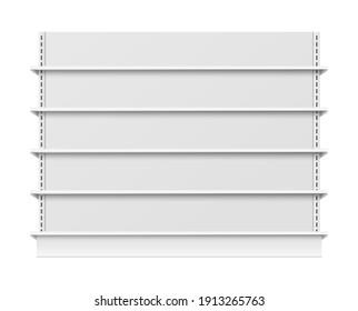 Empty store shelves mockup with blank retail shelfs, wide supermarket showcase template