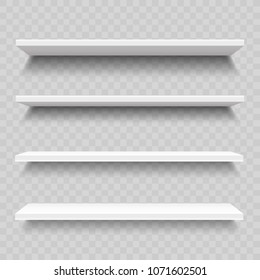 Empty store shelves for product. Shop interior vector infographic template. Illustration of interior bookshelf. Realistic vector