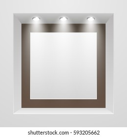 Empty storefront with ceiling lighting, banner template, vector illustration