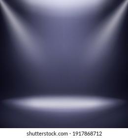 Empty Studio Backdrop. 3d Empty Studio Room, Show Booth With Spotlights On Dark Blue Gradient Background.