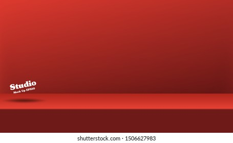 Empty studio background for product display. Banner for advertise product on website. Showroom shoot render. Vector abstract mock up 3D stage studio room with spotlight light backdrop.