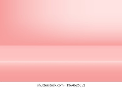 Empty studio pink background for product display with copy space. Showroom shoot render. Banner background for advertise product.